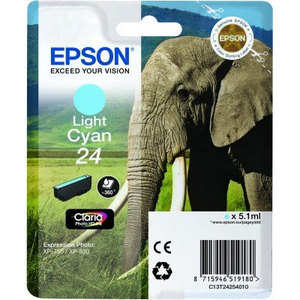 Original Epson 24 Light Cyan Ink Cartridge (T2425) (24 Series)