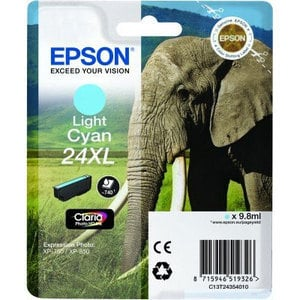 Original Epson 24XL Light Cyan Ink Cartridge High Capacity (T2435) (24XL)