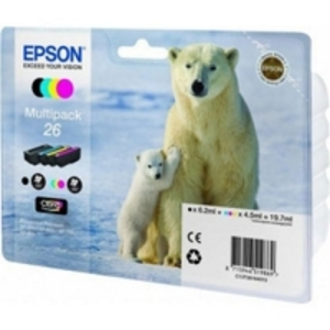 Original Epson 26 Ink Cartridge Multipack (T2616) (Black,Cyan,Magenta,Yellow)