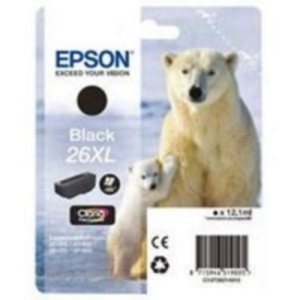 Original Epson 26XL Black Ink cartridge High Capacity (T2621) (26XL)
