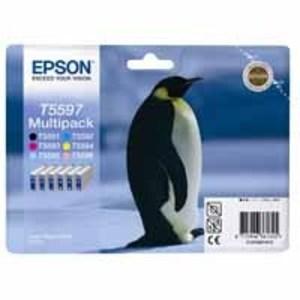 Original Epson T5597 Cartridges a Set of 6 Set  Multipack