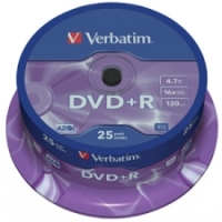 Verbatim - DVD+R - 16x - 4.70GB - 25 Pack